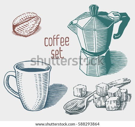 Coffee set. Collection of hand drawn sketches. Cup, coffee maker, coffee grain and spoon with sugar cubes. Vector elements isolated on white background