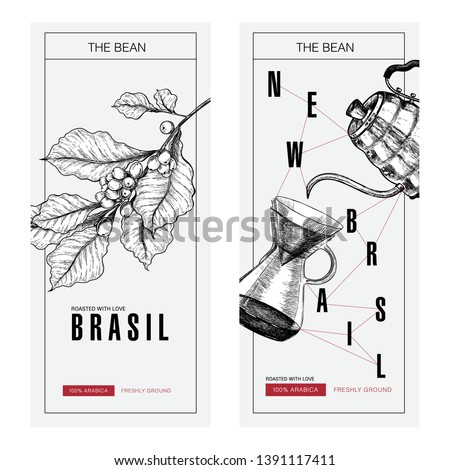 Coffee set. Hand drawn branch, pour over and coffe kettle. Alternative brewing method. Vector engraved icon. Packaging design in brutalism. Label template, brand identity, coffee shop, restaurant menu