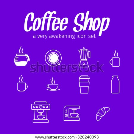 coffee set icons collection