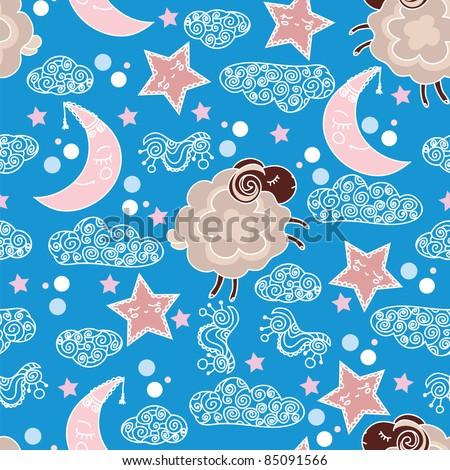 Coffee sheep and sweet dreams - seamless pattern with sleepy heads
