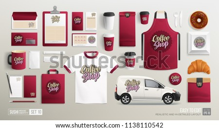 Coffee shop and Bakery - Brand identity vector Mockup set. White and maroon colors restaurant stationery MockUp set of Street Coffee van, paper cup, uniform, package