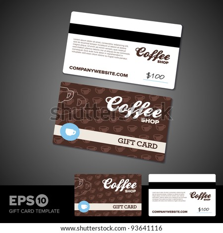 Coffee shop cafe gift card template design