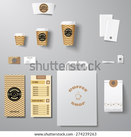 Coffee shop corporate identity template design set with lettering logo