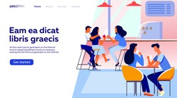 Coffee shop interior vector illustration. Young men and women drinking coffee at tables or counter. Modern cafe image for canteen or catering concept