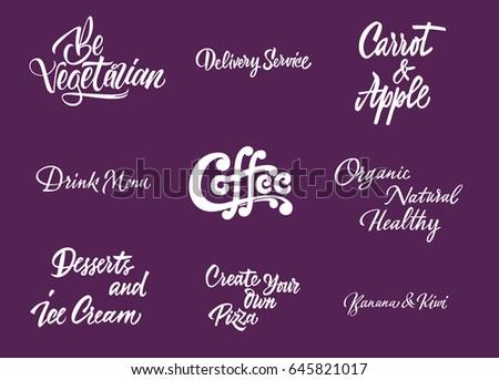coffee shop lettering set