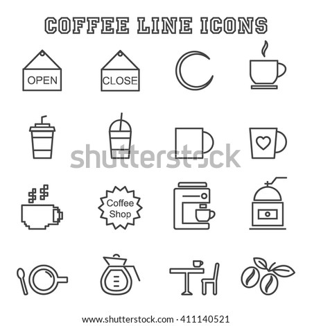 coffee shop line icons  mono
