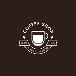 Coffee shop logo in white color. Coffee logo for coffee house or shop. Vector badge or logotype with cup. Cafe house logotype. Vector illustration
