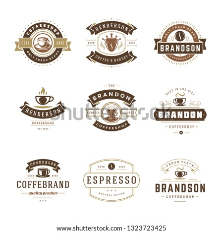 Coffee shop logos design templates set vector illustration. Good for cafeteria signages and cafe label and badges. Retro typography emblems.