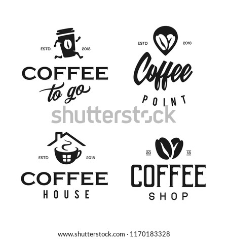 Coffee shop logotype template set. Coffee related emblems labels badges signs. Vector vintage illustration.