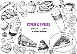 Coffee shop menu design. Hand drawn sketch illustration. Coffee and desserts. Cafe menu elements. Desserts for breakfast.