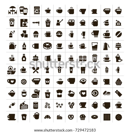 Coffee shop or dessert cafe concept vector icon set. Set of cafe items, various cups, desserts, coffee, doughnuts, coffee machines, beverage glasses, fast food, street food,tea pots signs and symbols.