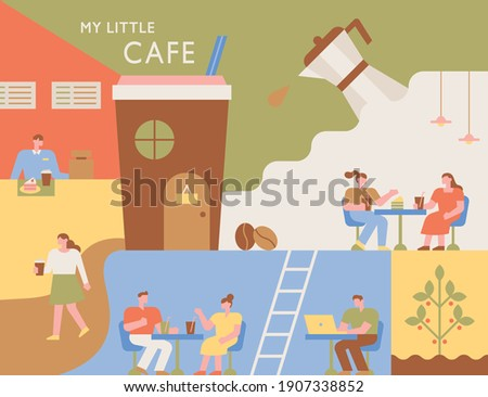 Coffee shop poster. Interior of a coffee shop with various layouts. People are sitting at the table and drinking coffee. flat design style minimal vector illustration.