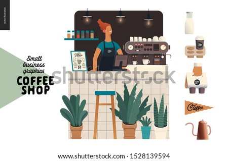 Coffee shop - small business illustrations - barista - modern flat vector concept illustration of a young woman wearing apron at the bar counter, coffee maker, plants, coffee elements