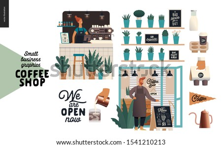 Coffee shop - small business illustrations - set - modern flat vector concept illustration of a coffee shop owner wearing apron, shop facade, barista woman, bar counter, coffee maker, plants, elements