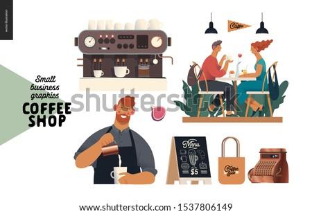 Coffee shop - small business illustrations - set - modern flat vector concept illustration of man barista wearing apron, cash register, coffee maker, visitors, pavement sign, branded bag, elements