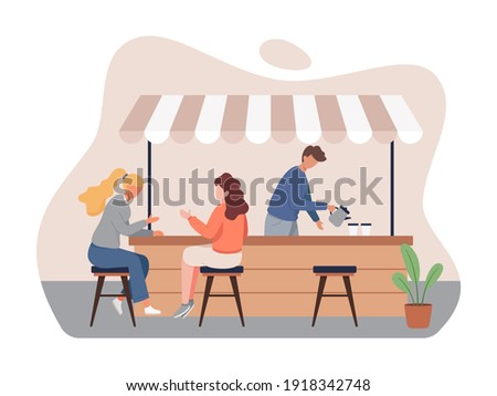 Coffee shop vector concept. Small business and self-employment concept, Barista makes coffee. Drinking coffee and talking. Illustration of Coffee shop owner, People in cozy cafe. Vector in flat style