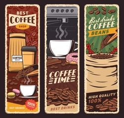 Coffee shop vector vintage banners, cafeteria and cafe menu. Coffee machine and cups of hot cappuccino, espresso and americano, latte and frappe with donut and macaron sweet desserts
