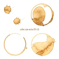 Coffee stain watercolor vector.