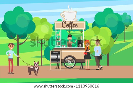 Coffee stand in green park, man walking dog and people buying tea from shop, seller cups of hot drinks, poster vector illustration with trees