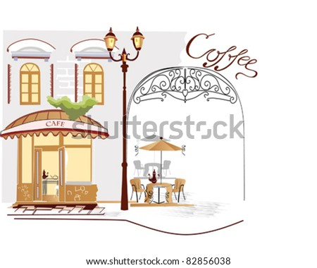 Coffee street with cafes - stock vector