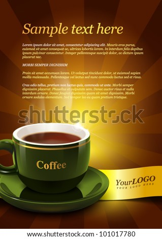 Coffee template for advertising - stock vector