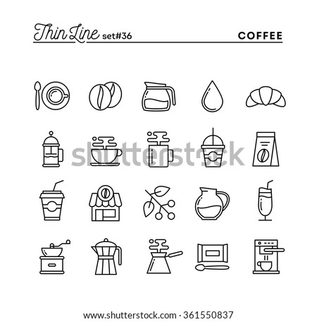 Coffee, thin line icons set, vector illustration
