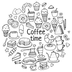 Coffee time doodles hand drawn sketchy vector symbols and objects. Images for confectionery or coffee shop