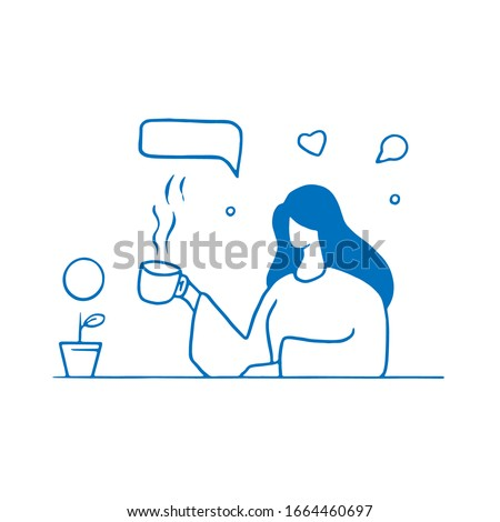 coffee time woman illustration concept