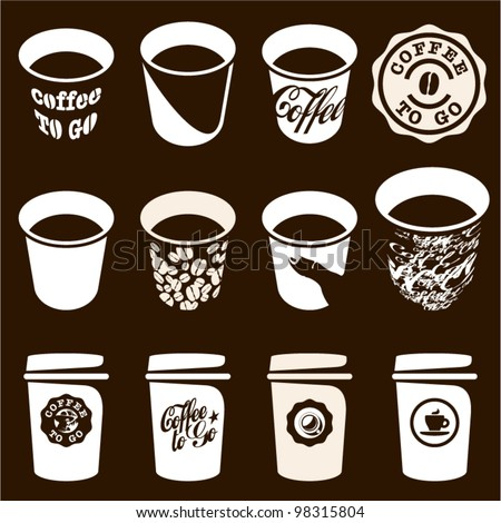 Coffee to go cup set. Coffee cup vector sign, icons. Coffee labels and badges design.