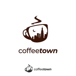 Coffee town logo with town city skyscraper silhouette inside mug icon symbol illustration