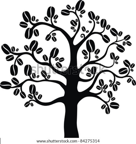 Coffee tree isolated on white background, vector illustration