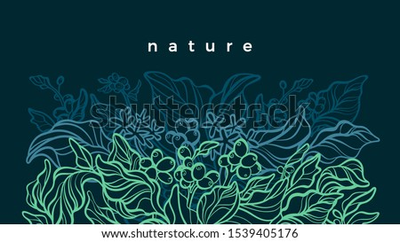 Coffee tree. Tropical foliage. Vector hand drawn template. Nature neon green leaves, flower, berry, bean. Art line abstract background. Wild jungle. Graphic illustration