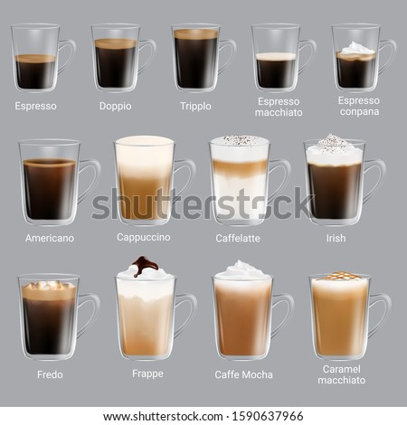 Coffee types set, vector isolated illustration. Espresso types, doppio, trippio, cappuccino, frappe, americano, caramel macchiato, other coffee drinks with names for restaurant, cafe menu etc.