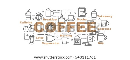 coffee vector banner design concept, flat style with thin line art icons on white background