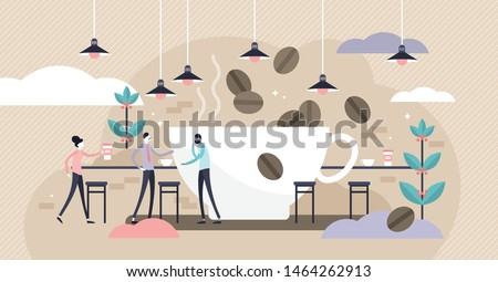 Coffee vector illustration. Flat tiny caffeine drink persons concept. Abstract brown morning cafe bar for espresso, cappuccino and tasty hot chocolate beverages. Business service for hipster lifestyle