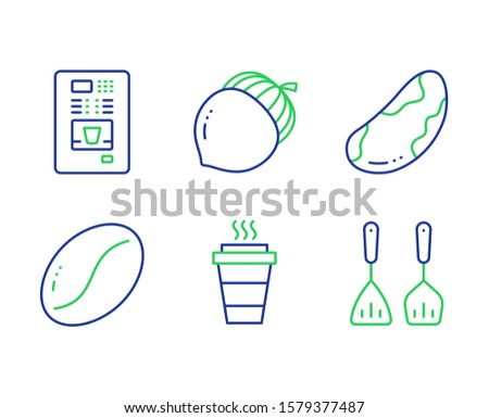 Coffee vending, Brazil nut and Takeaway line icons set. Coffee beans, Acorn and Cooking cutlery signs. Vegetarian, Vegetarian seed, Oaknut. Kitchen accessories. Food and drink set. Vector