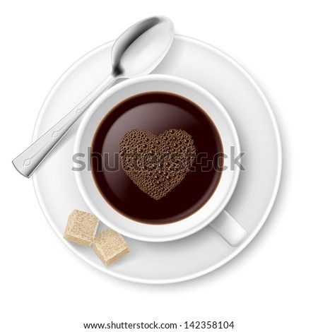 Coffee with sugar and spoon. Illustration on white background