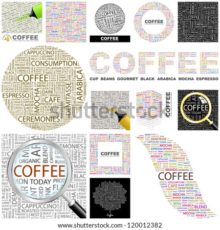 COFFEE. Word collage. GREAT COLLECTION.