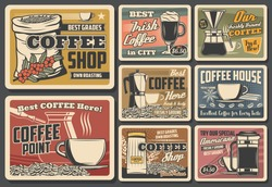Coffeebeans, cups and drinks vector posters. Cafe, coffee shop cups, sack with roasted beans, irish and cezva, americano and latte beverages. Mugs with hot drinks, percolator and filter, vintage cards