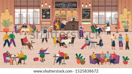 Coffeehouse with People, Coffee Shop Service. Barista and Waitress Working in Cafe. Customers Playing Games and Working Online. Friends Having Fun at Bistro, Drinking and Talking Vector in Flat Style