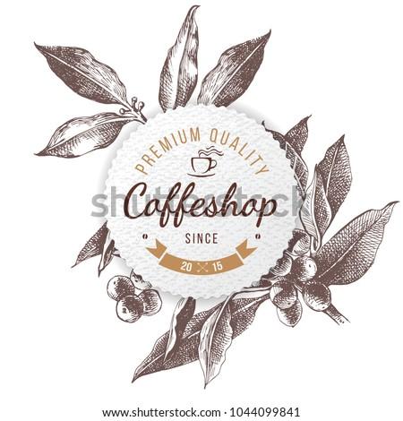 coffeshop round paper emblem