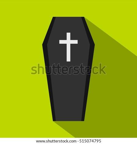 coffin icon flat illustration