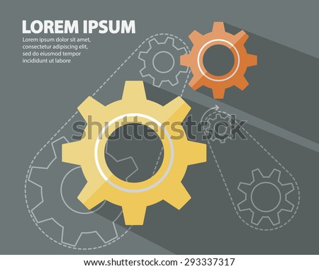 Cog Gear Wheels, Gear Wheels Flat Style with long Shadow Logo on Dark Background and Gear Wheels in Line Style Abstract Background Vector Illustration