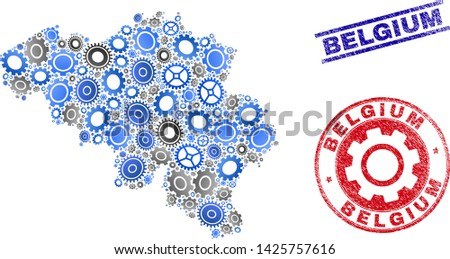 Cog vector Belgium map collage and seals. Abstract Belgium map is designed from gradiented scattered cogwheels. Engineering territory plan in gray and blue colors,