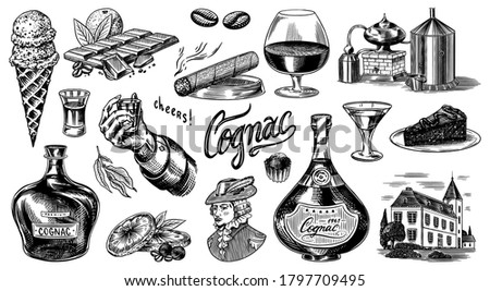 Cognac and hand with glass, bottles with labels, cigar and cocktail, sweets and farm, chocolate and man. Engraved hand drawn vintage sketch. Woodcut style. Vector illustration for menu or poster.