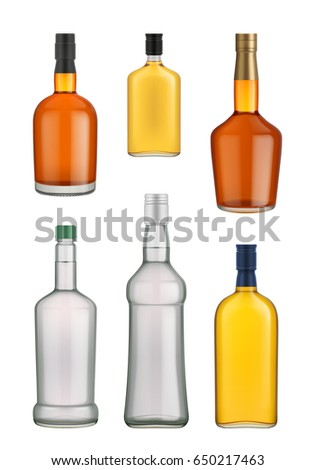 Cognac, whiskey and brandy glass bottle vector isolated on white background. Vector packaging mockup with realistic bottle #650217463
