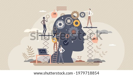 Cognitive process and psychological mind learning process tiny person concept. Inner head thoughts research and mental rehabilitation help from professional psychotherapy team vector illustration.