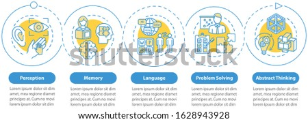 Cognitive processes vector infographic template. Mental health presentation design elements. Memory. Data visualization with five steps. Process timeline chart. Workflow layout with linear icons
