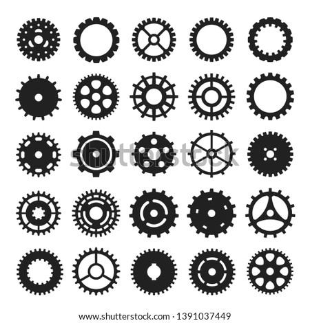 Cogs and gears icon set, mechanism or machinery symbol. Engineering wheel collection, technical elements. Vector gears symbols illustration