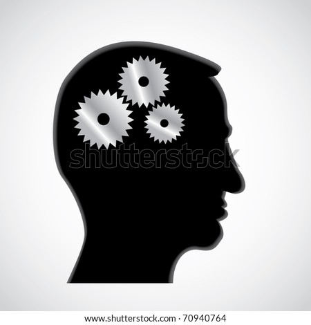 Cogs or gears in human head - illustration